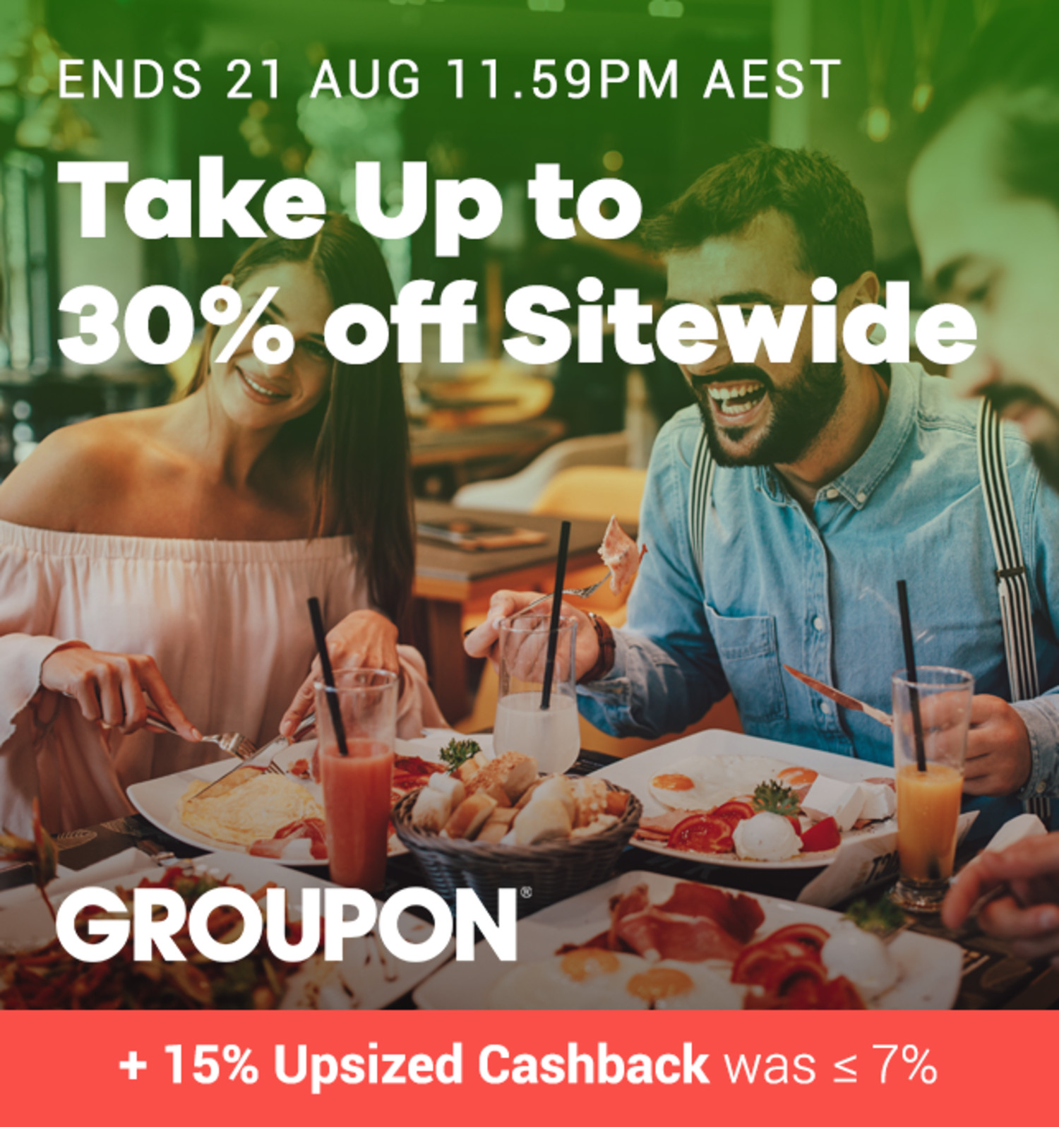 Groupon - Up to 30% off Sitewide + 15% Upsized Cashback