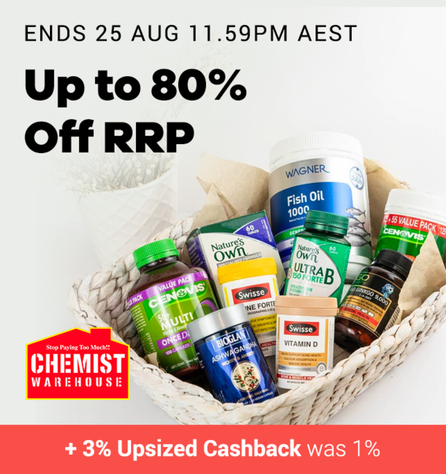 Chemist Warehouse - 3% Upsized Cashback