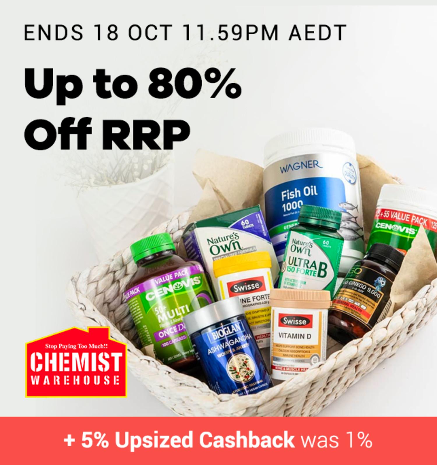 Chemist Warehouse - 5% Upsized Cashback