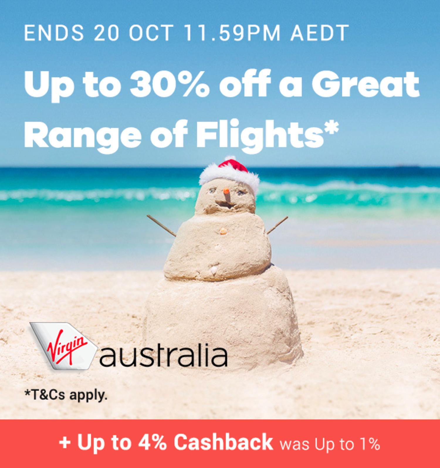 Virgin Australia Flights - Up to 4% Upsized Cashback