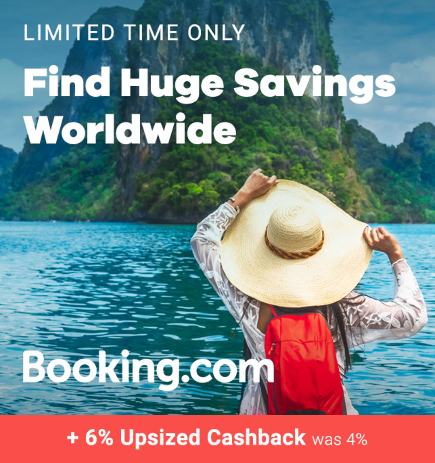 Booking.com - 6% Upsized Cashback