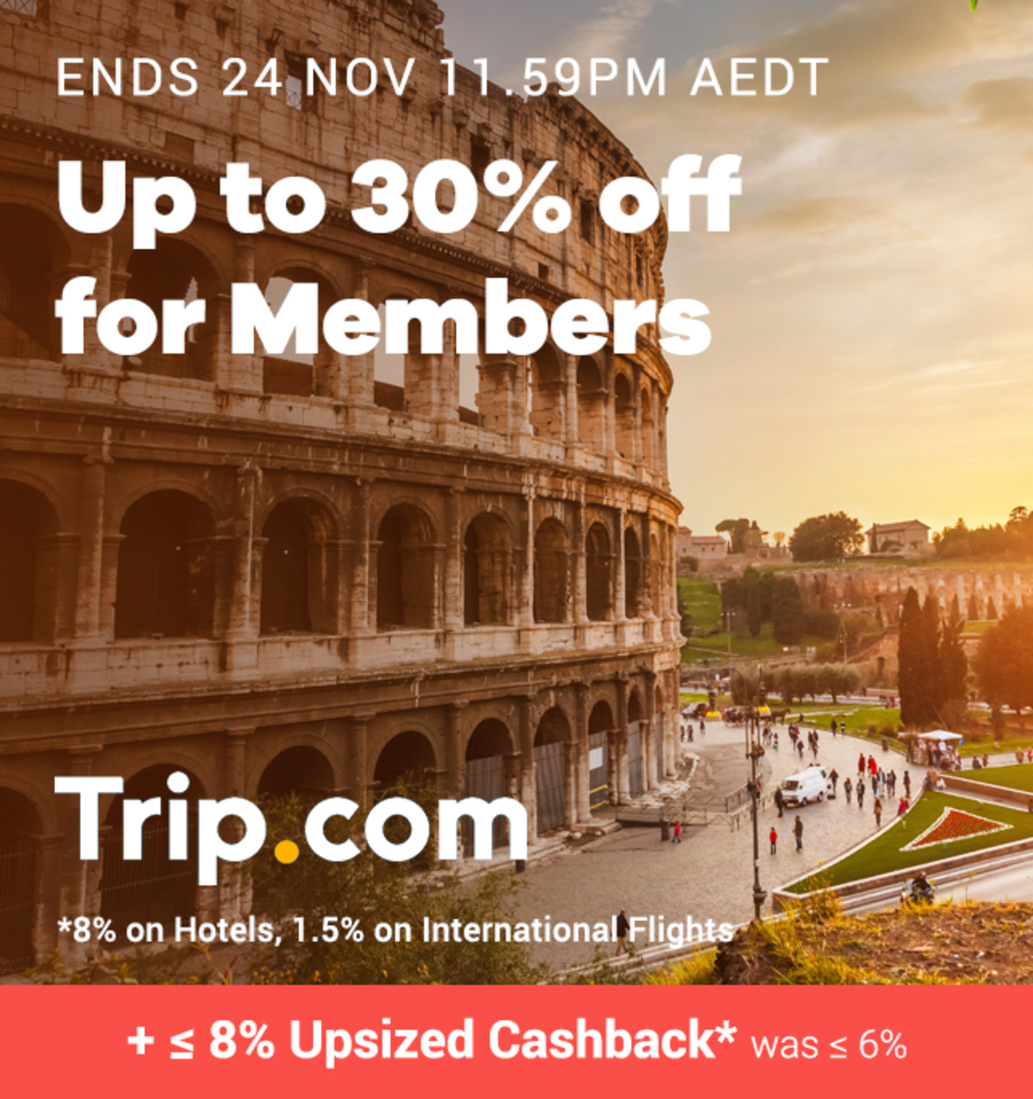 Trip.com - Up to 8% Upsized Cashback (November 2019)