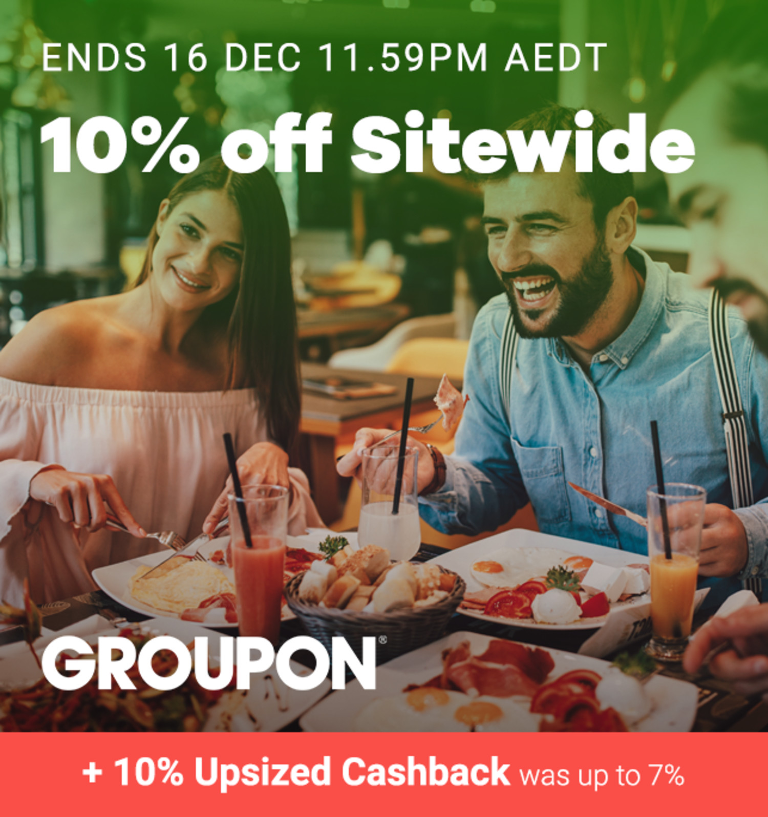 Groupon - 10% off Sitewide & 10% Upsized Cashback