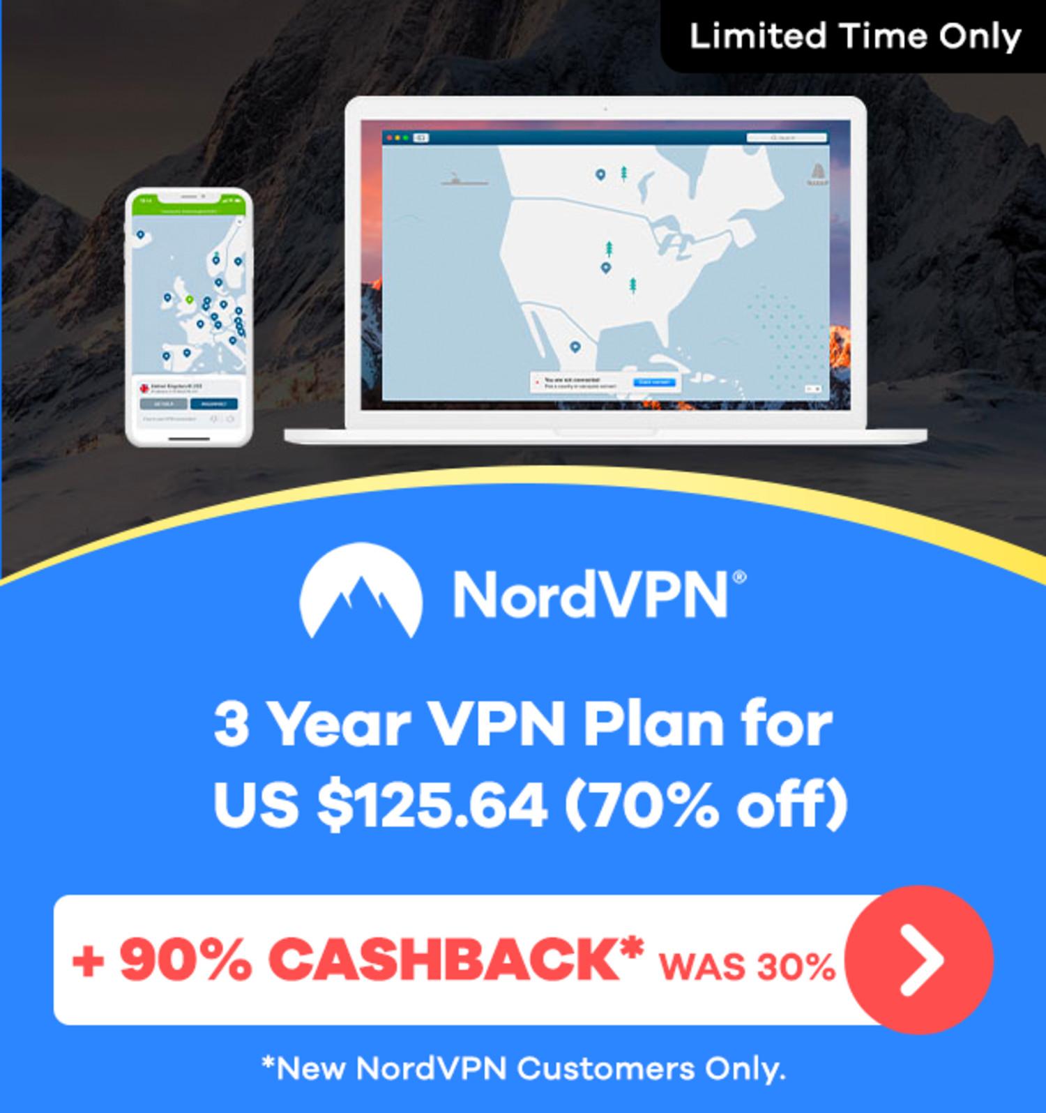 NordVPN - 90% Upsized Cashback