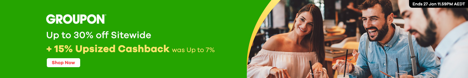 Groupon - Up to 15% off Sitewide + 15% Cashback