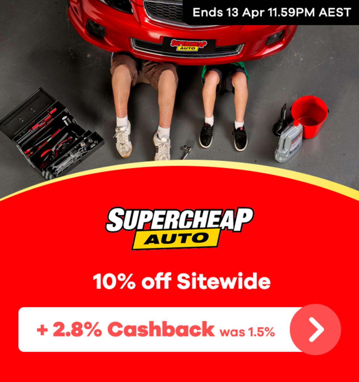 Supercheap Auto - 2.8% Upsized Cashback (April 2020)