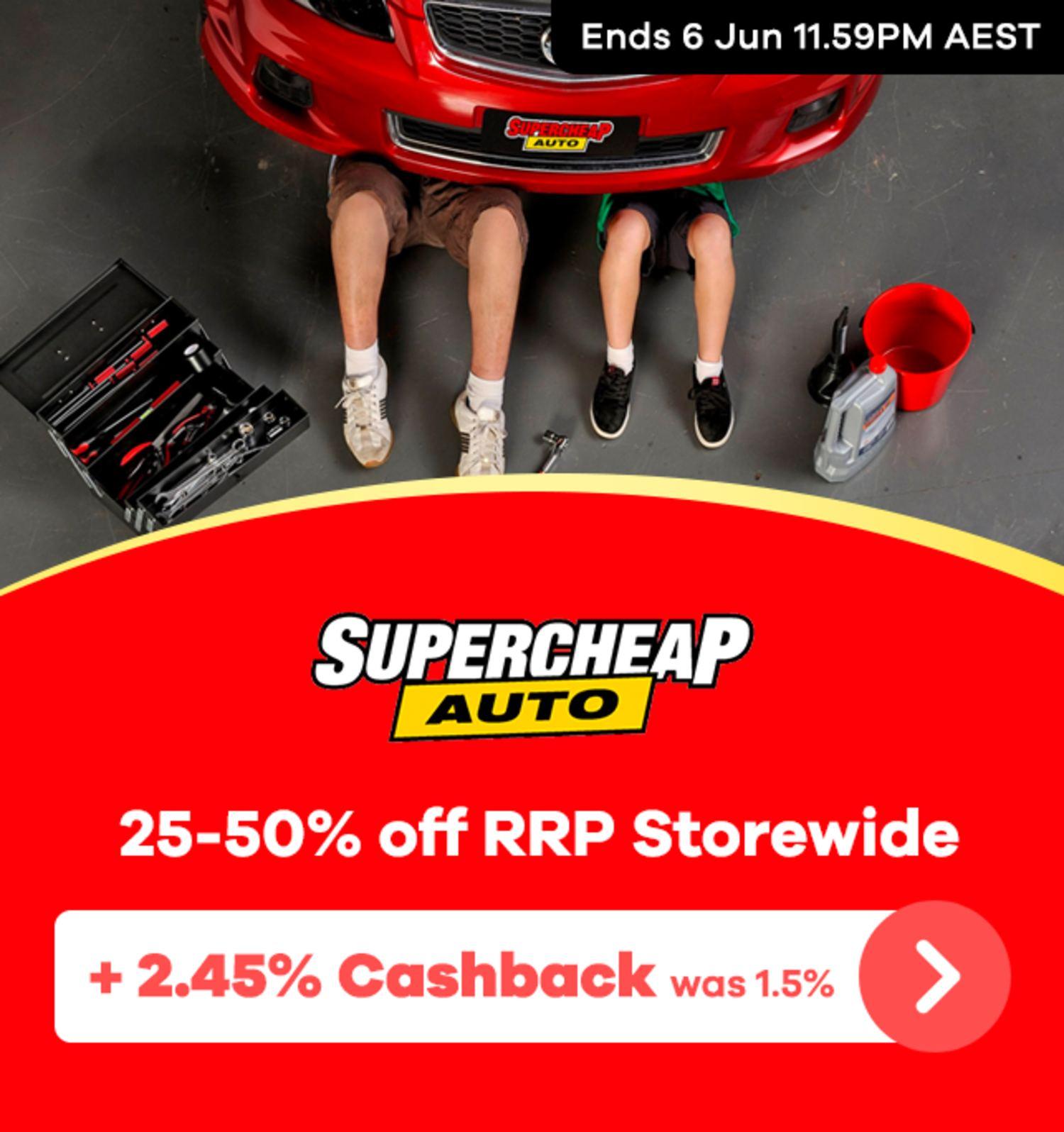 Supercheap Auto - 2.45% Upsized Cashback (June 2020)