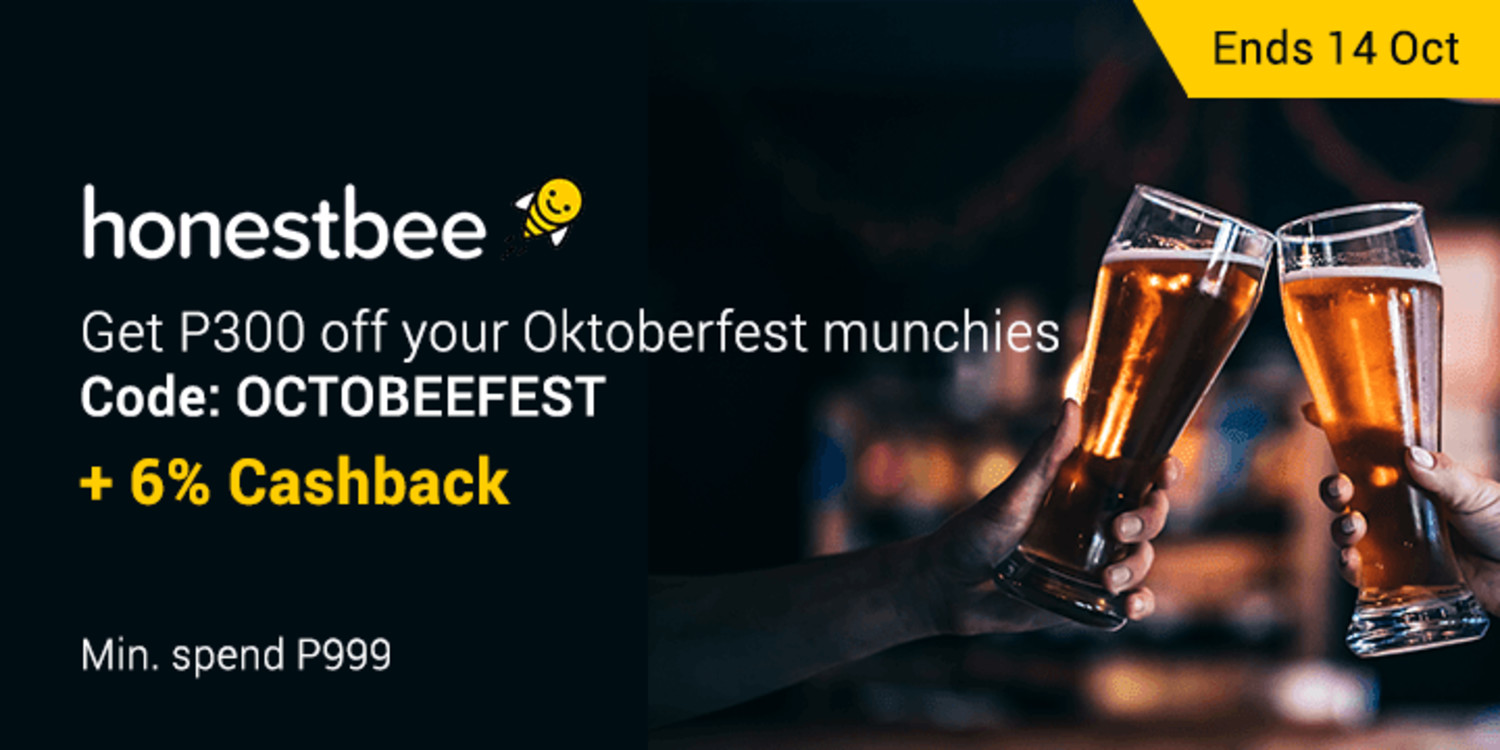 Get P300 off your Oktoberfest munchies for you and the barkada + 6% Cashback