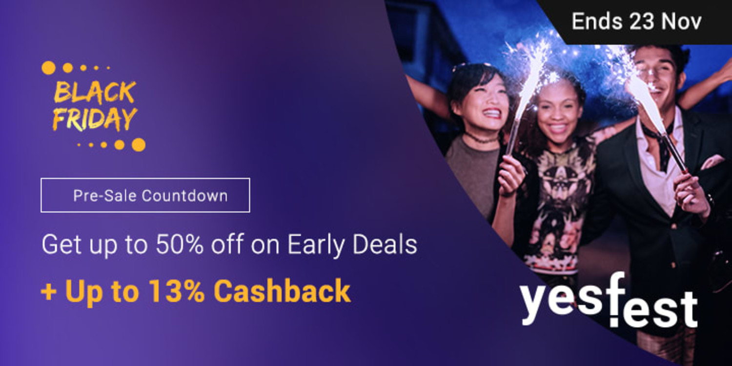 Countdown to Black Friday Sale: Up to 50% off + Up to 13% Cashback
