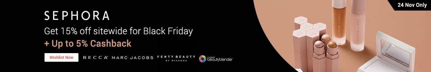 Sephora: Black Friday Sale 15% off sitewide countdown + Up to 5% Cashback