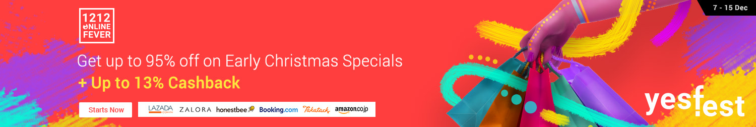 12.12 is here! Up to 95% off on Early Christmas Specials + Up to 13% Cashback