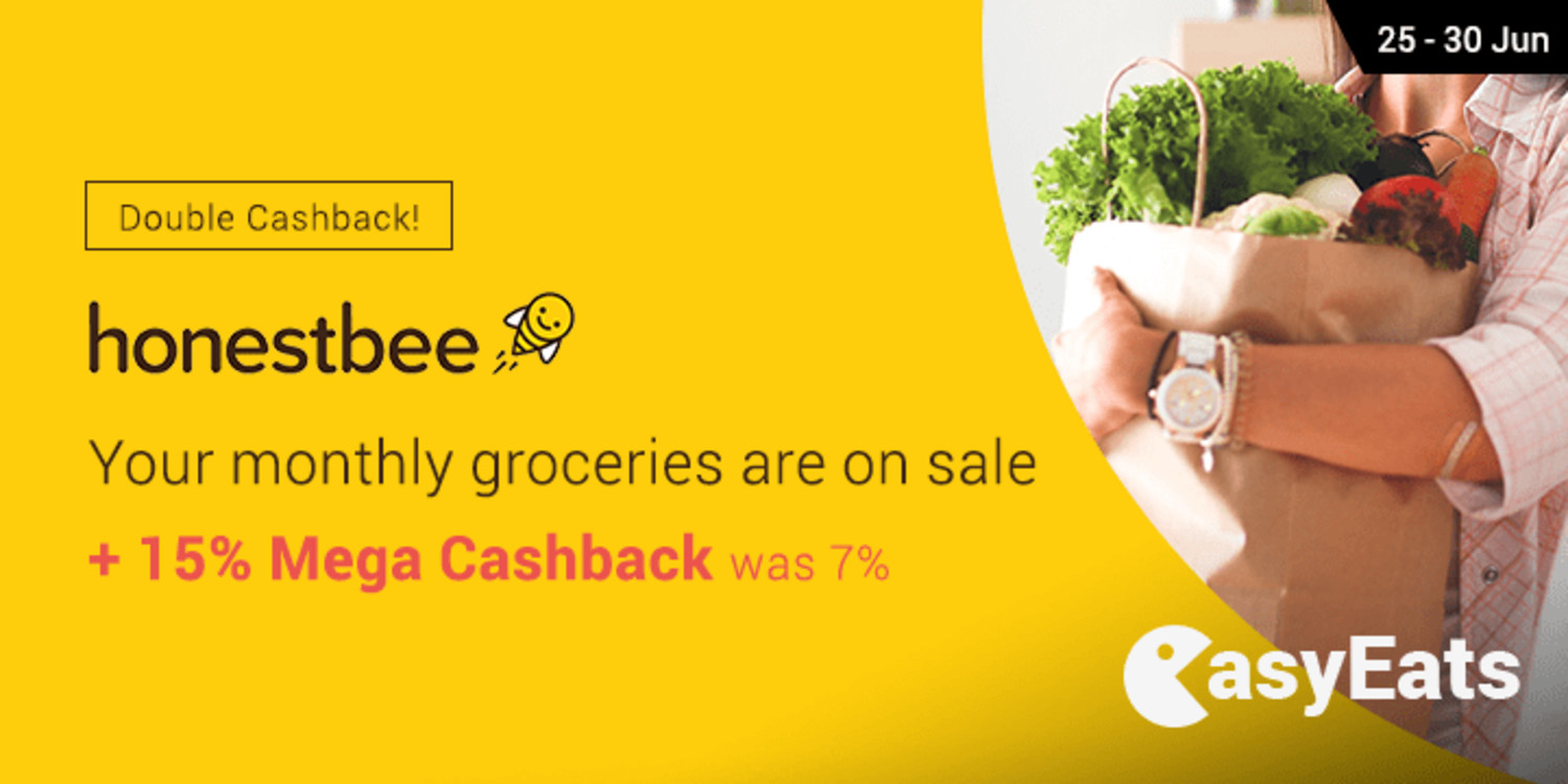Ends 20 Jun | Honestbee: Your monthly groceries are on sale + 15% Mega Cashback (was 7%)