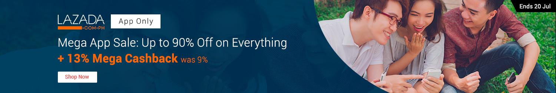 15 - 20 Jul | Lazada Mega App Sale: Up to 90% off on everything + Up to 15% mega Cashback (was <9%)