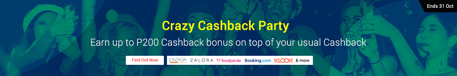 Crazy Cashback Party | Get up to P200 Cashback bonus when you shop on ShopBack this October 2018