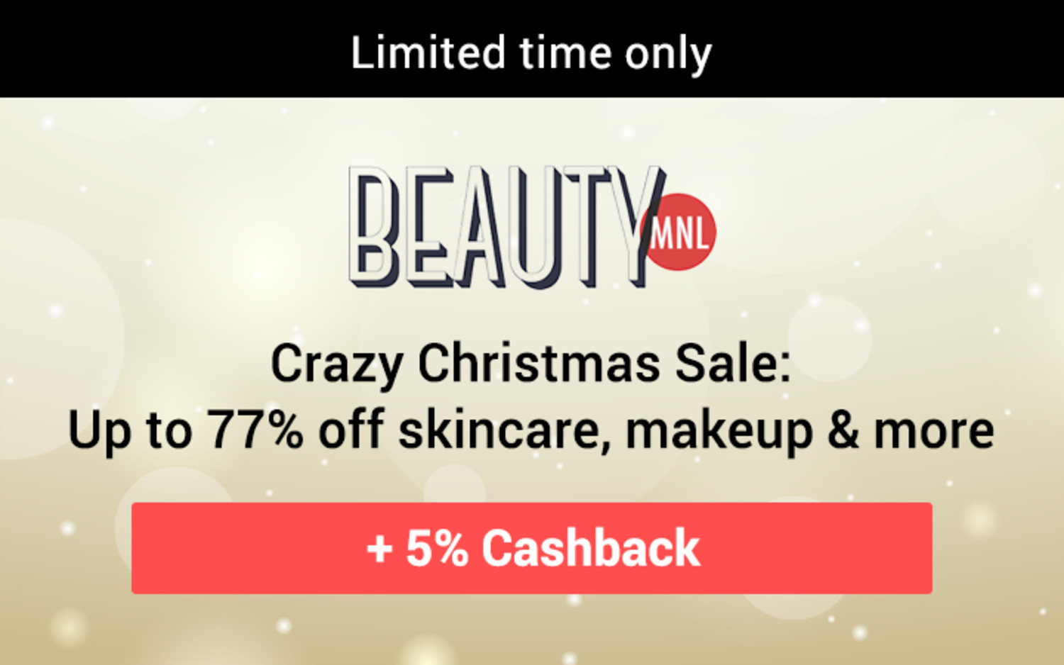 BeautyMNL | Crazy Christmas Sale: Up to 77% off skincare, makeup & more + 5% Cashback