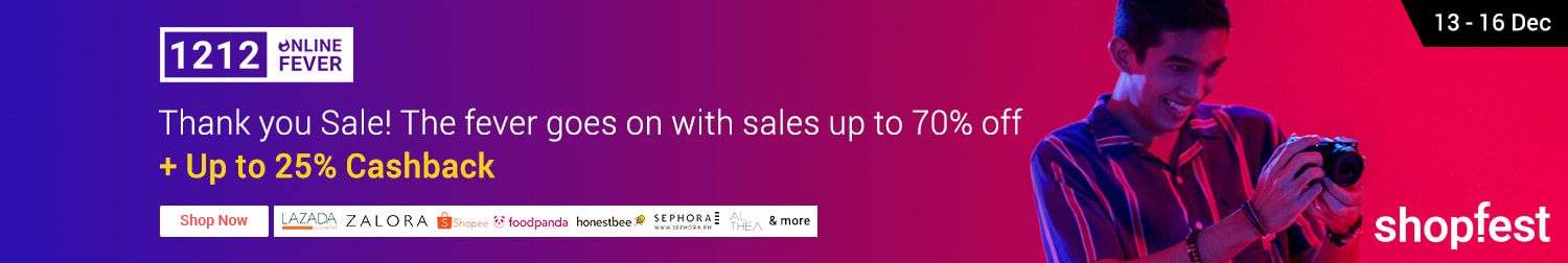 12/12 Online Fever After Sales: Thank You Sale with up to 70% off + up to 25% Cashback