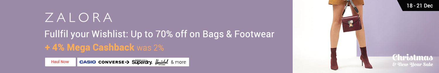 ZALORA Fullfil your Wishlist: Up to 70% off on Bags & Footwear  + 4% Mega Cashback