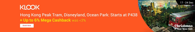 Klook Hong Kong Peak Tram, Disneyland, Ocean Park: Starts at P438 + Up to 6% Mega Cashback (was <3.0%)