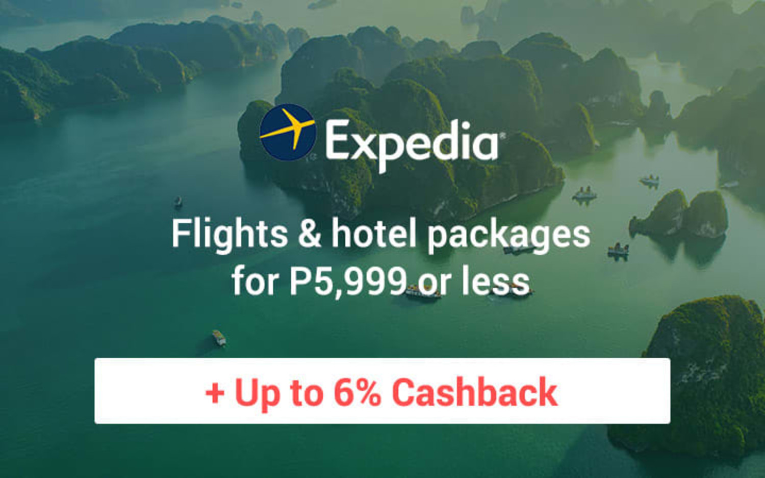 Expedia  Stay longer and save up to 35% on your accommodations + Up to 6% Cashback
