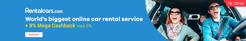 16 - 23 Apr Rentalcars.com World's biggest online car rental service + 8% Mega Cashback (was 6%)