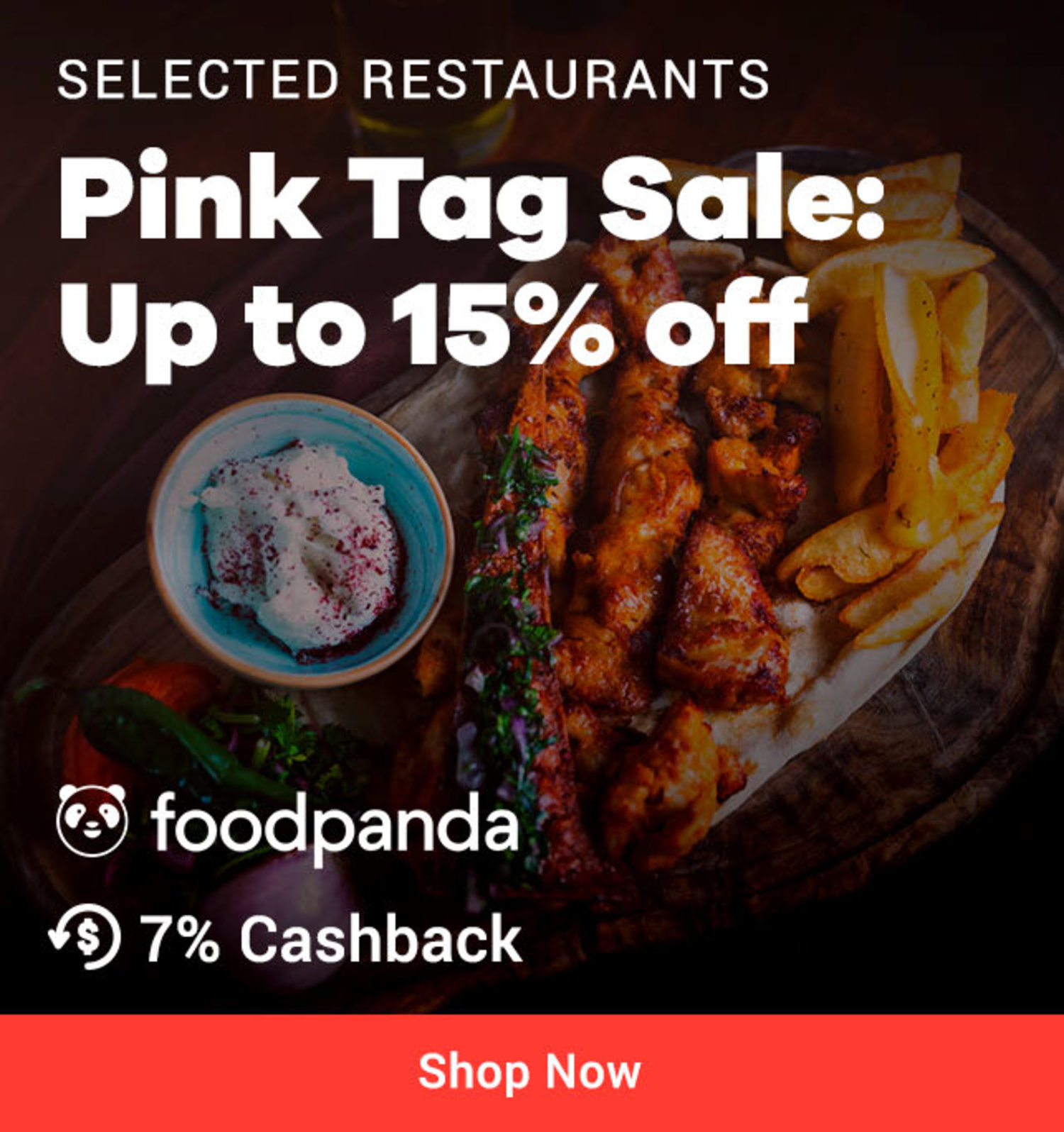 foodpanda Pink Tag Sale: Up to 15% off on selected restaurants + 7% Cashback