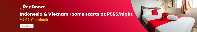 RedDoorz Indonesia & Vietnam rooms starts at P555/night + 9% Cashback