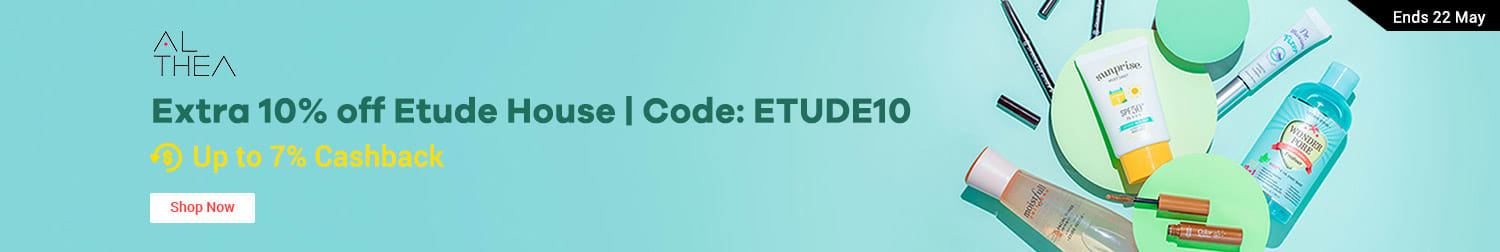 Ends 22 May Althea Extra 10% off Etude House | Code: ETUDE10 + Up to 7% Cashback