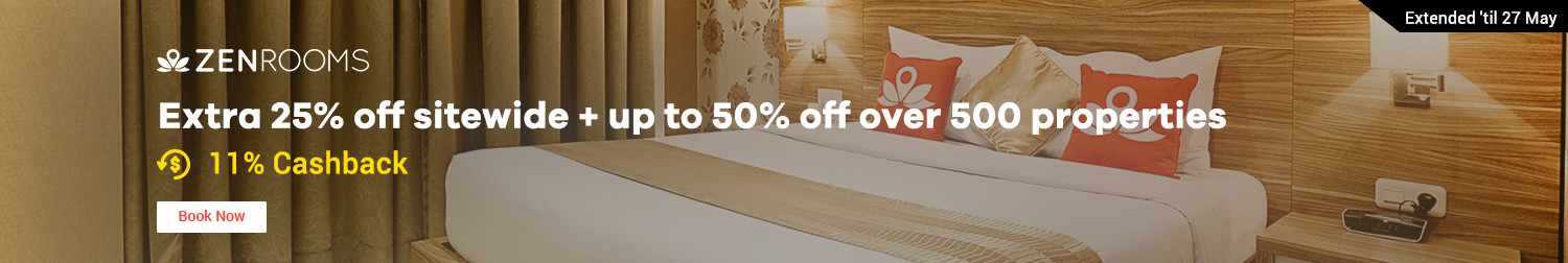 24 - 27 May ZEN Rooms Summer Sale: Up to 50% off on more than 500 properties! + 11% Cashback
