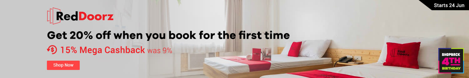 RedDoorz Get 20% off when you book for the first time 12% Mega Cashback (was 9%)