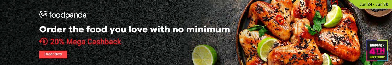 Foodpanda Order the food you love with no minimum 20% Mega Cashback