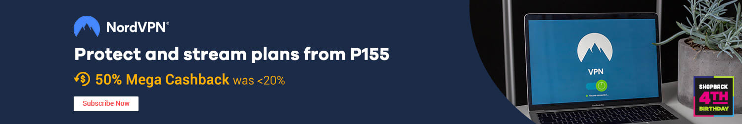 NordVPN Protect and stream plans from P155 50% Mega Cashback (was 28%)