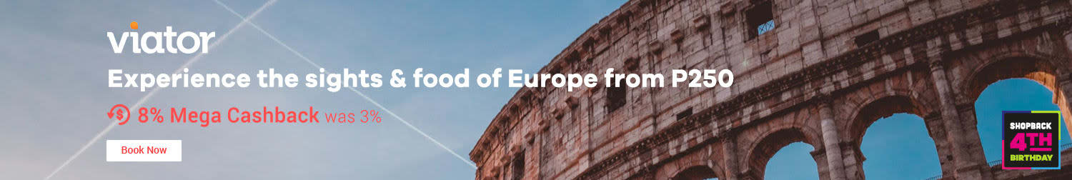 Viator  Experience the sights & food of Europe from P250 8% Mega Cashback (was 35)