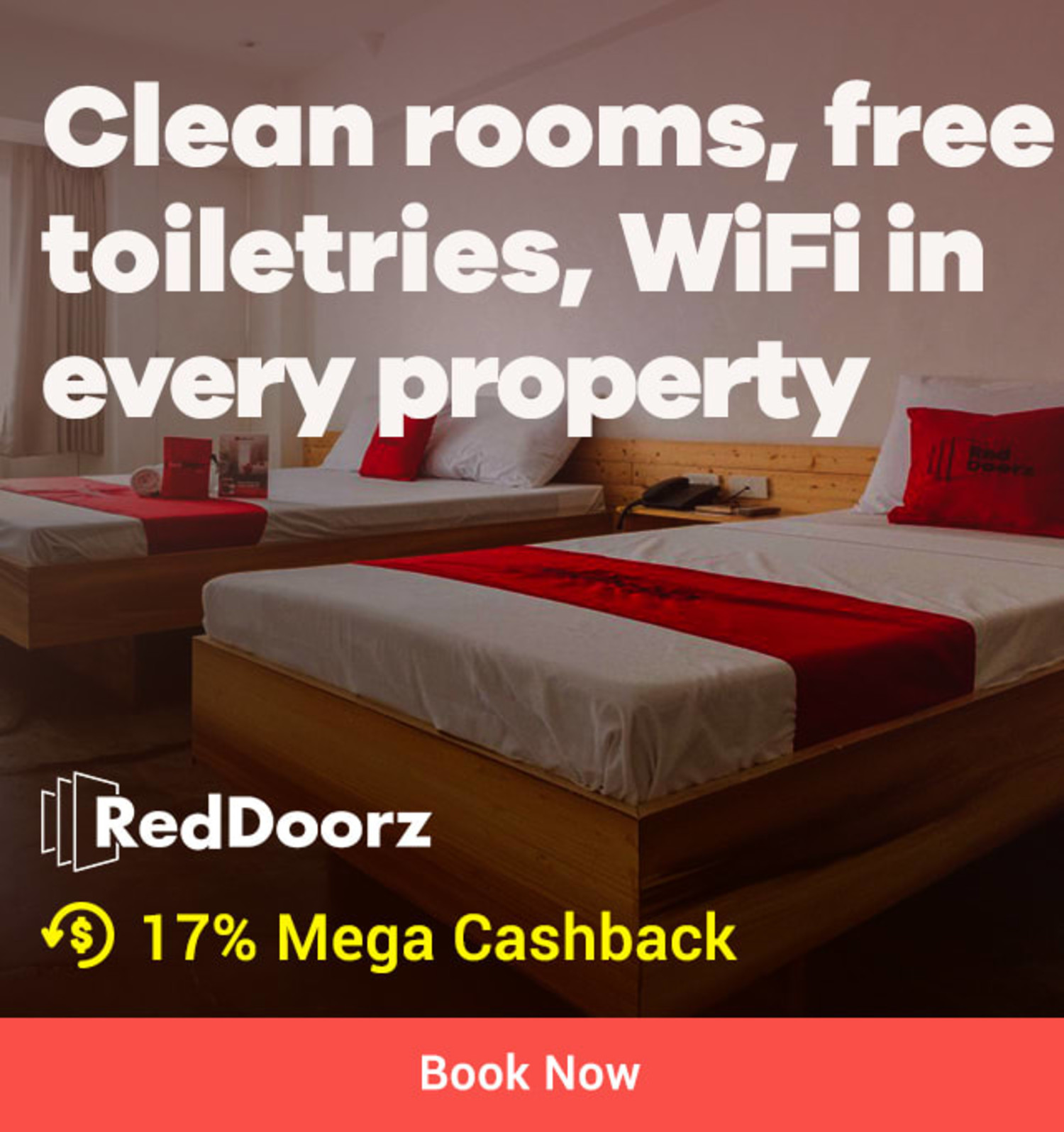 21 ~ 31 Jul RedDoorz Clean rooms, free toiletries, wifi in every property + 15% Mega Cashback (was 9%)