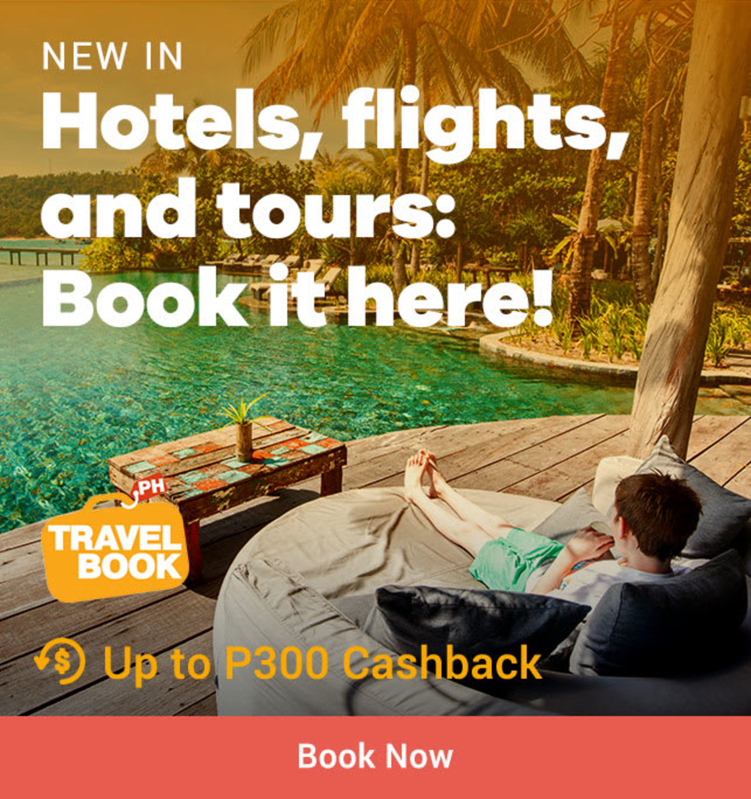 Travelbook Hotels, flights, and tours: Book it here! + Up to P300 Cashback