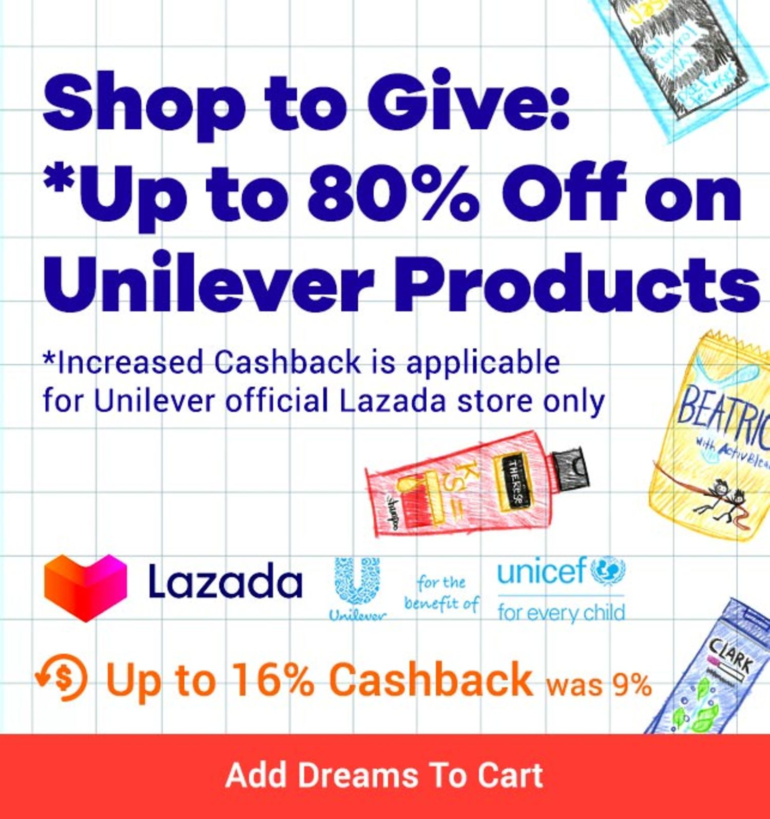 Lazada Unilever Sale Up to 80% off Up to 16% Cashback