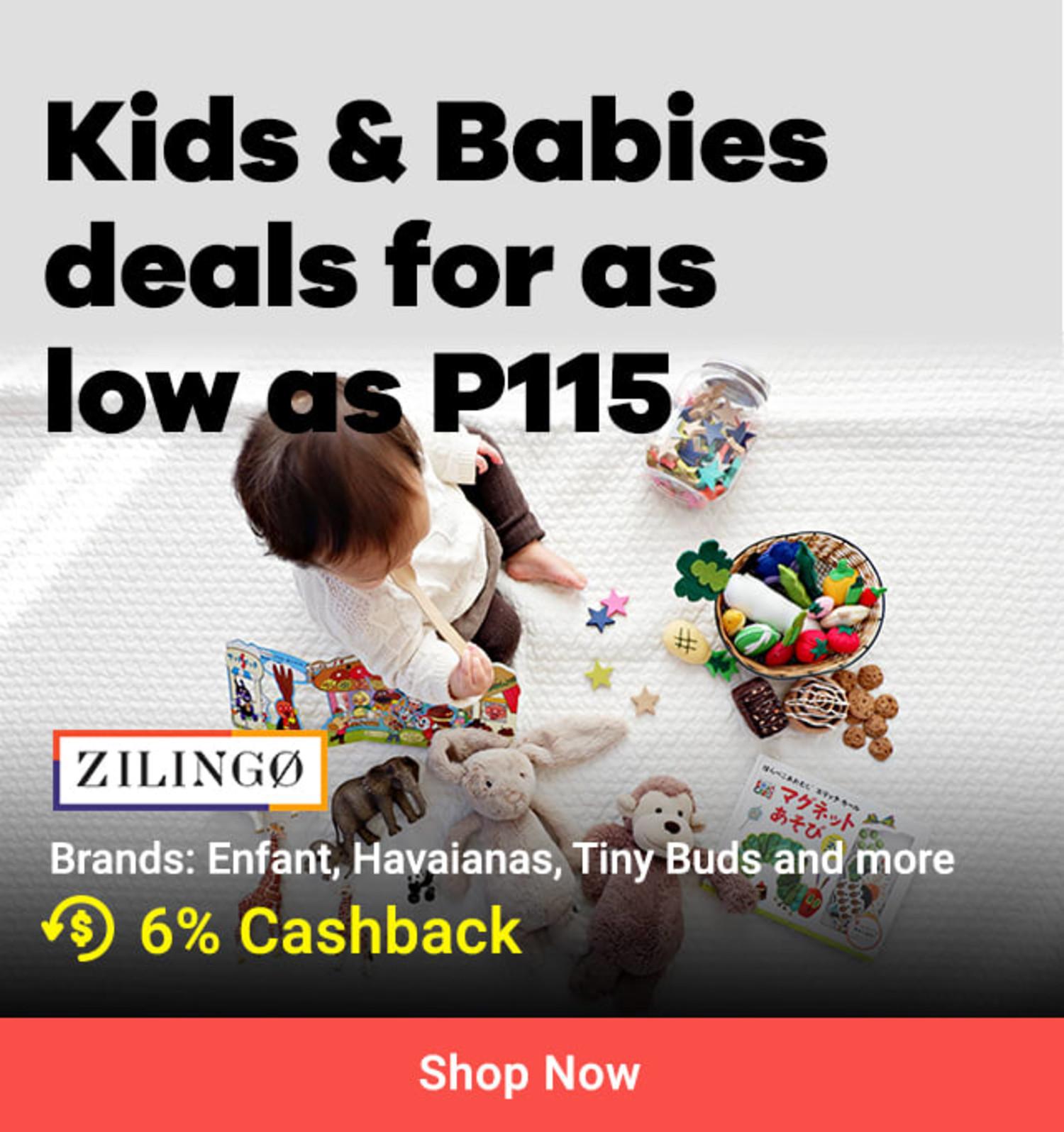 Zilingo Kids & Babies deals for as low as P115 6% Cashback