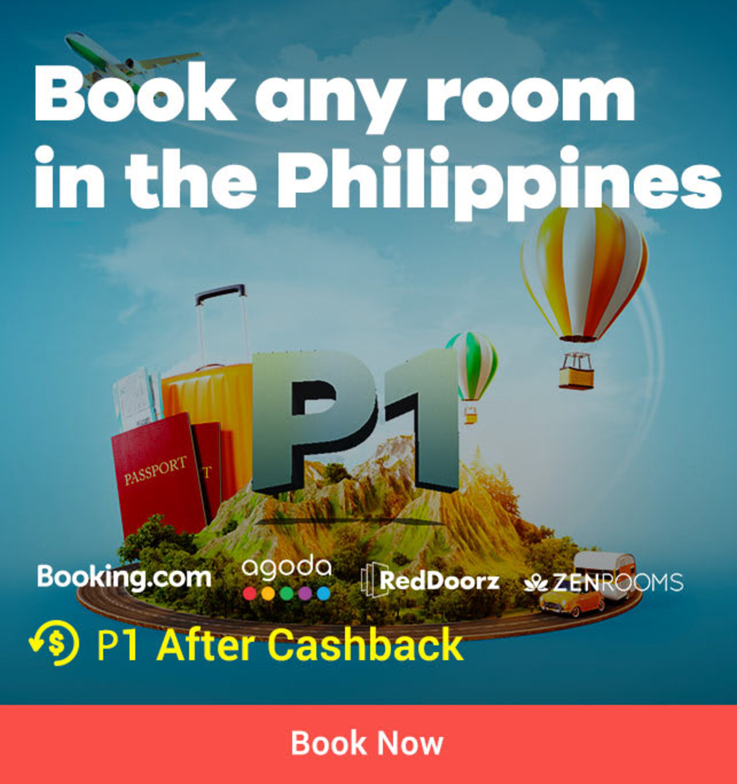 Book any room in the Philippines for P1