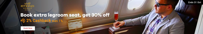 Etihad Airways: Book extra legroom seat Get 30% off