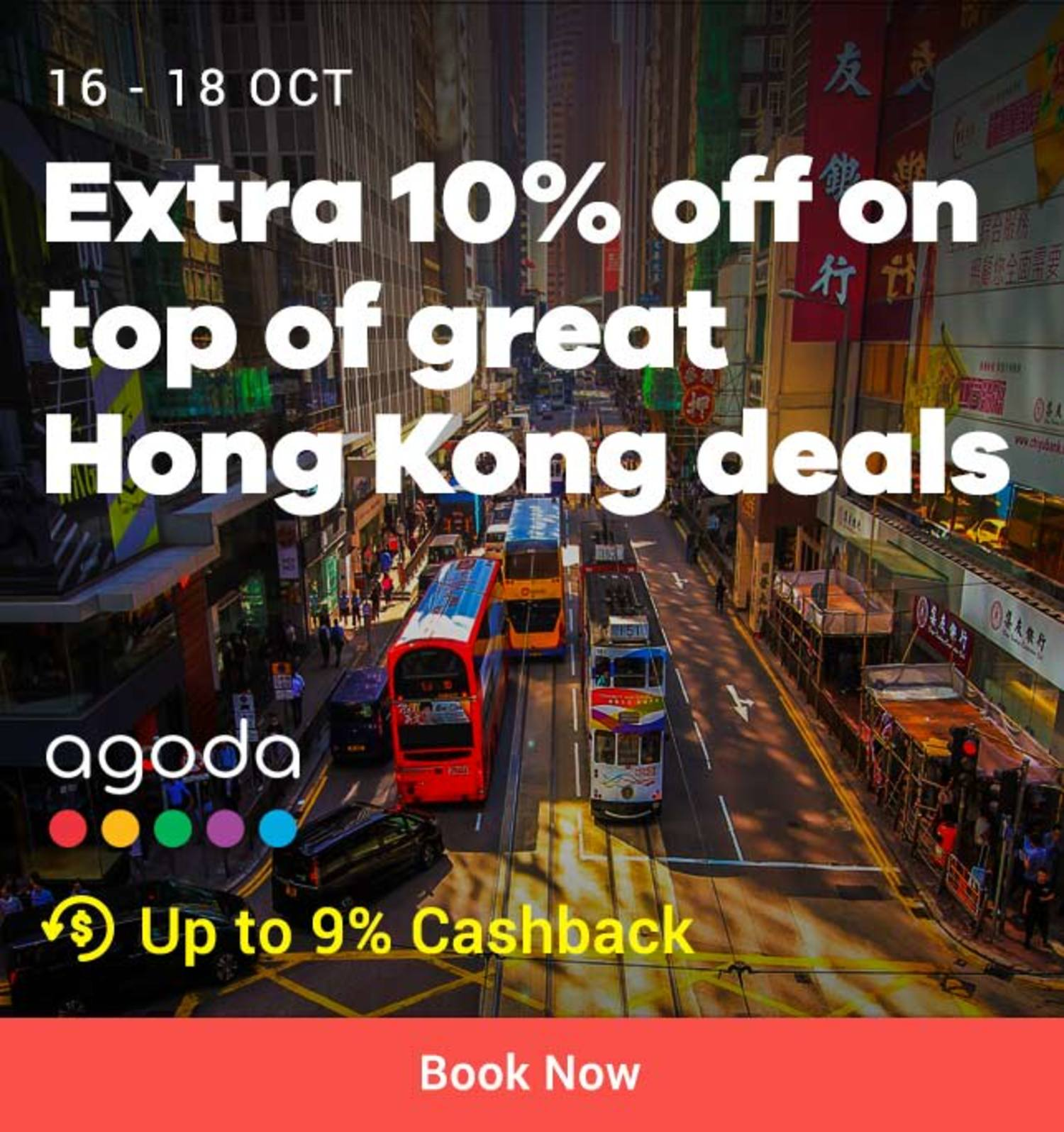 Agoda: Extra 10% off Hongkong