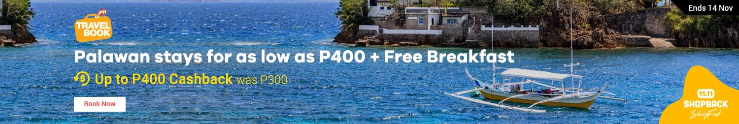 Travelbook: Palawan stays for as low as P400 + Free Breakfast
