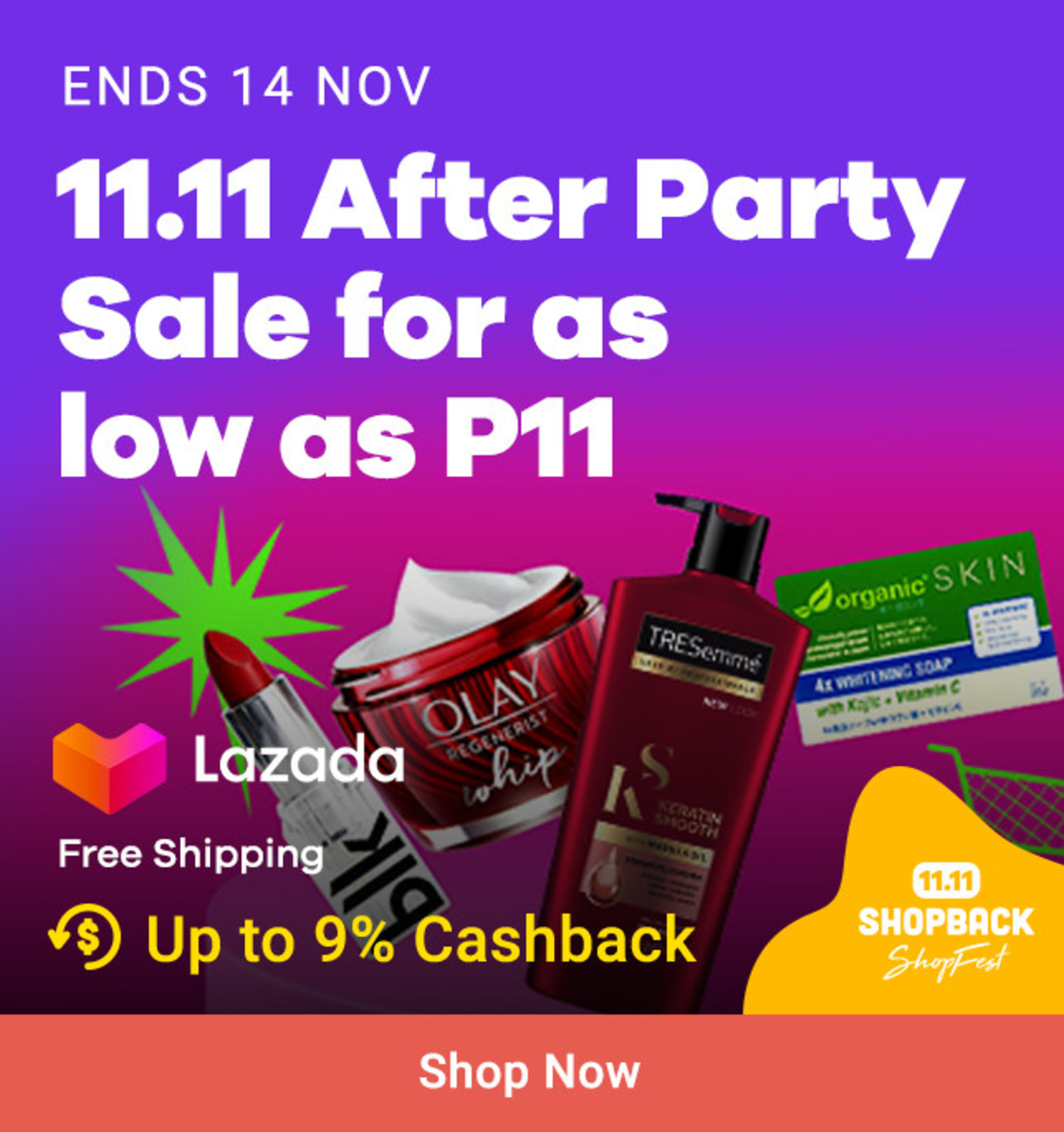 Lazada: 11.11 After Party Sale for as low as P11