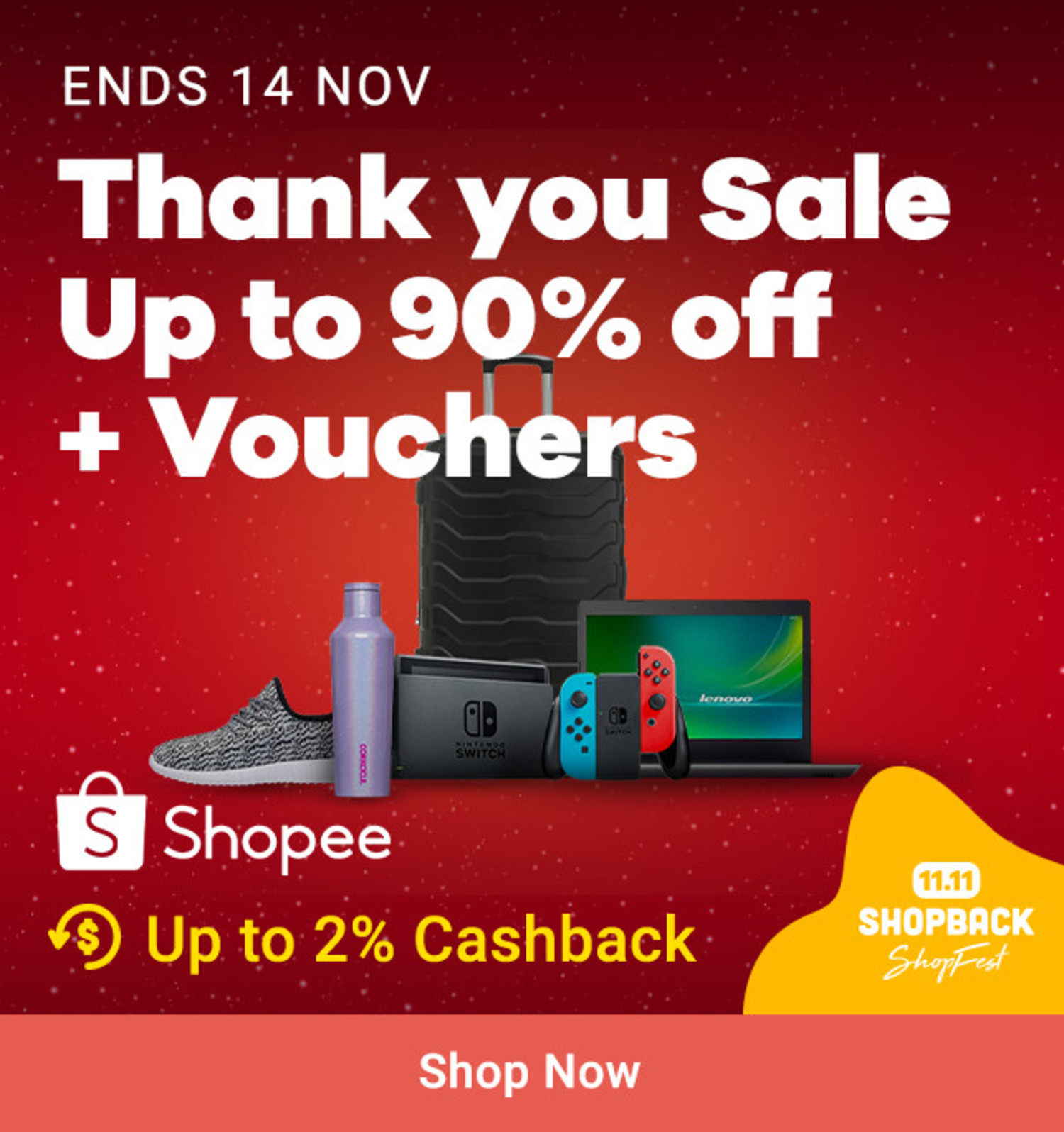 Shopee: Thank You Sale Up to 90% off + Vouchers