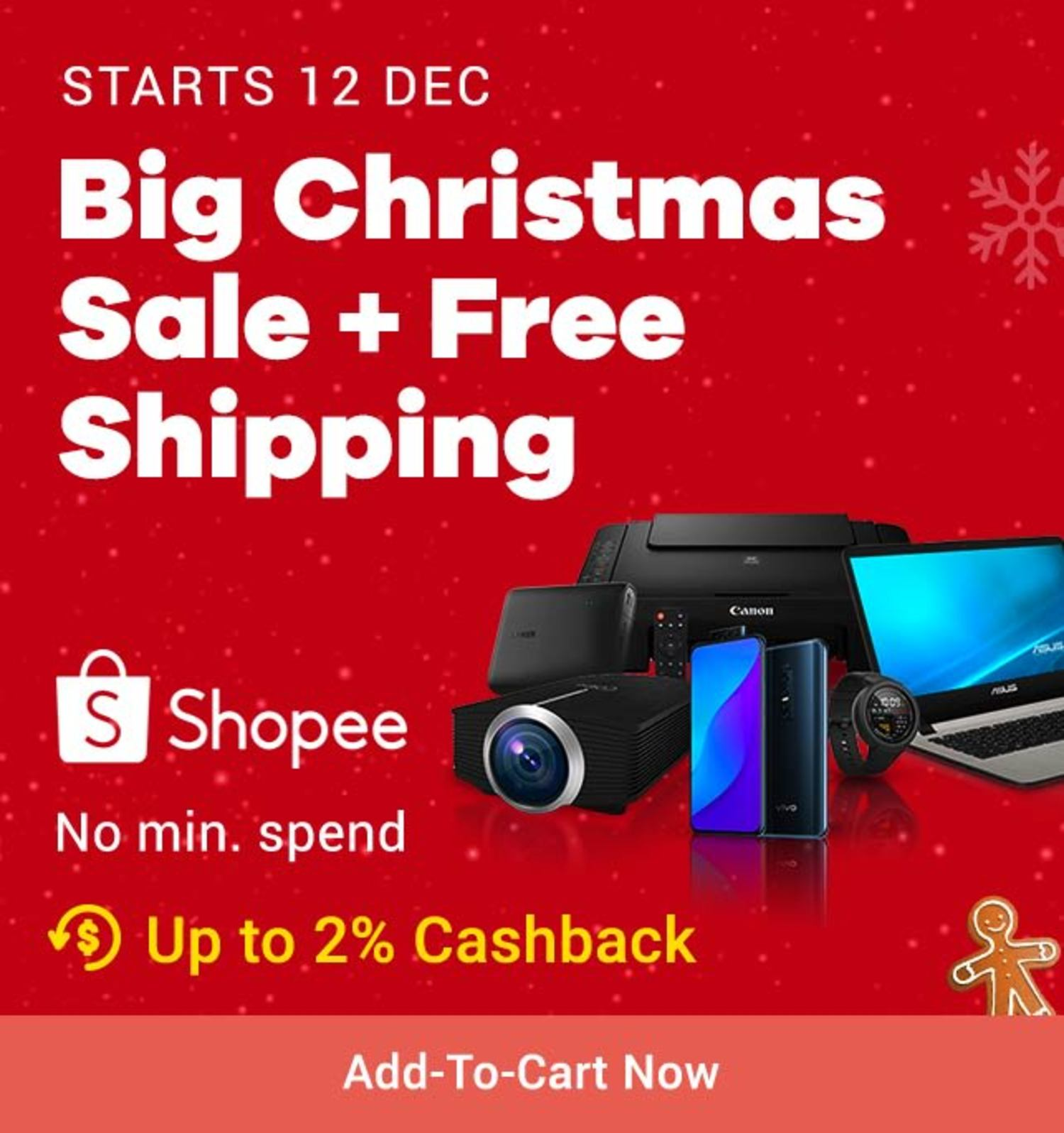 Shopee: Big Chritsmas Sale + Free Shipping