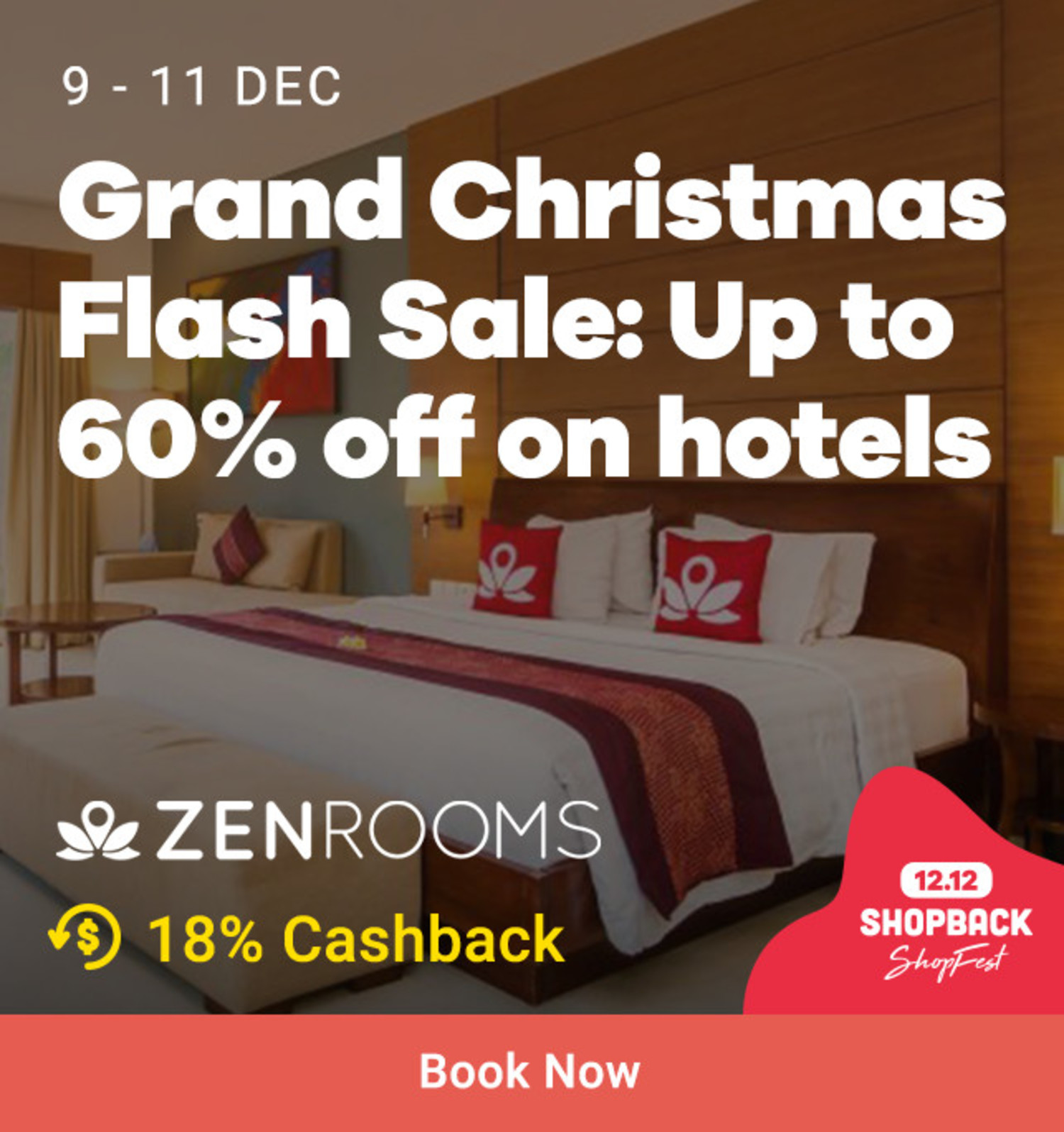 ZEN Rooms: Grand Christmas Flash Sale Up to 60% off on hotels