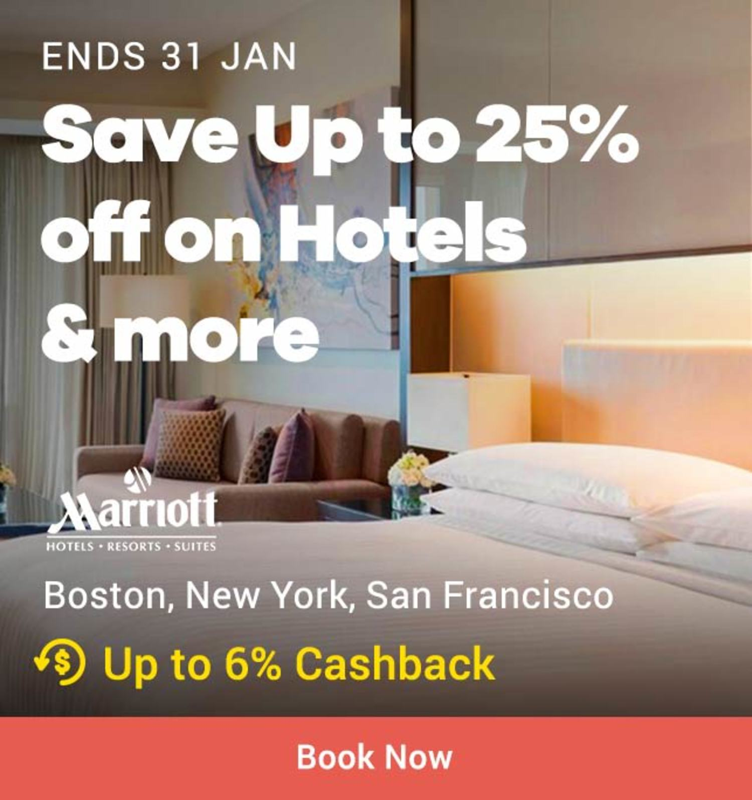 Marriot: Save Up to 25% off on Hotels & more