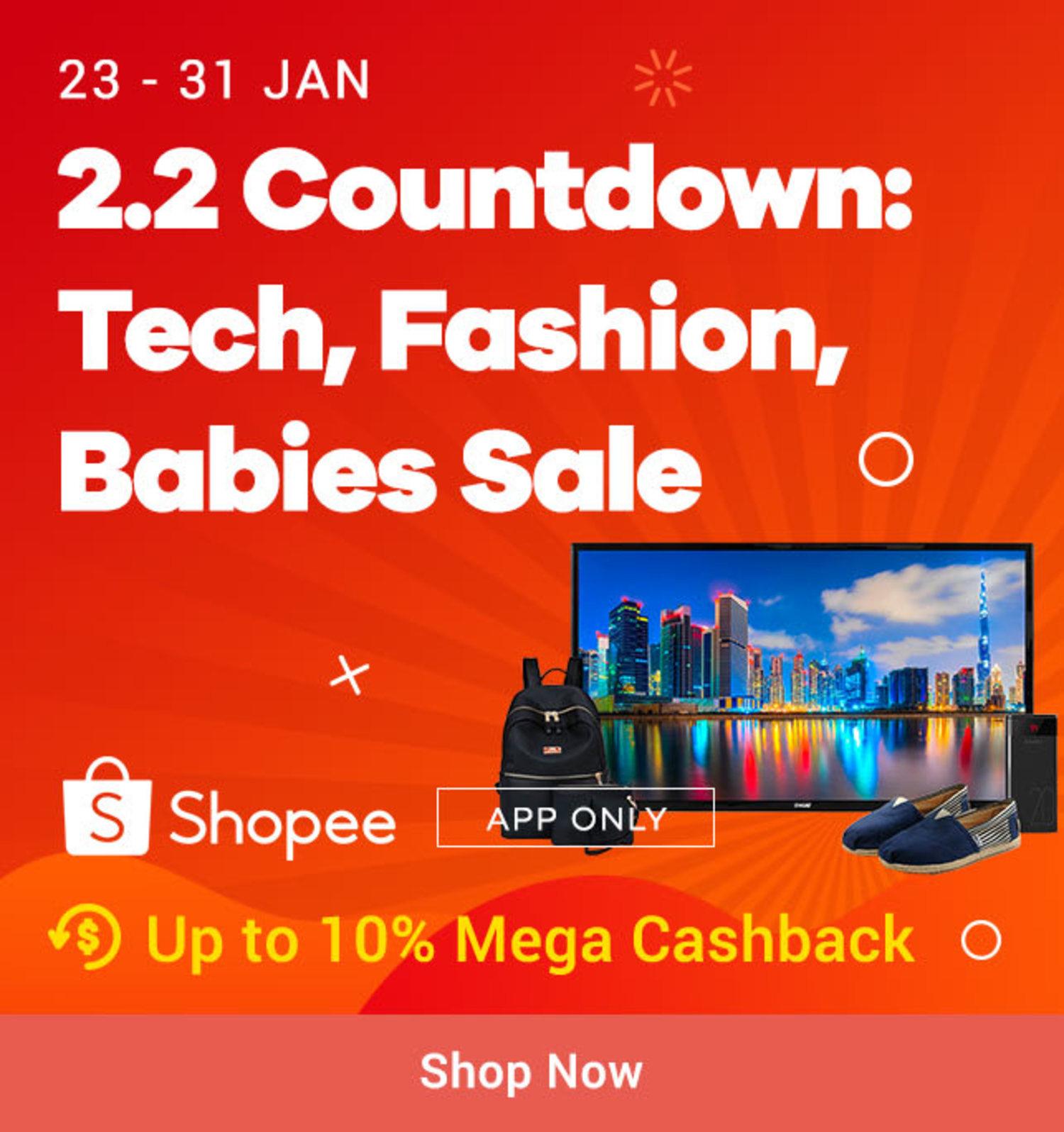 Shopee 2.2 Countdown: Tech, Fashion Babies Sale