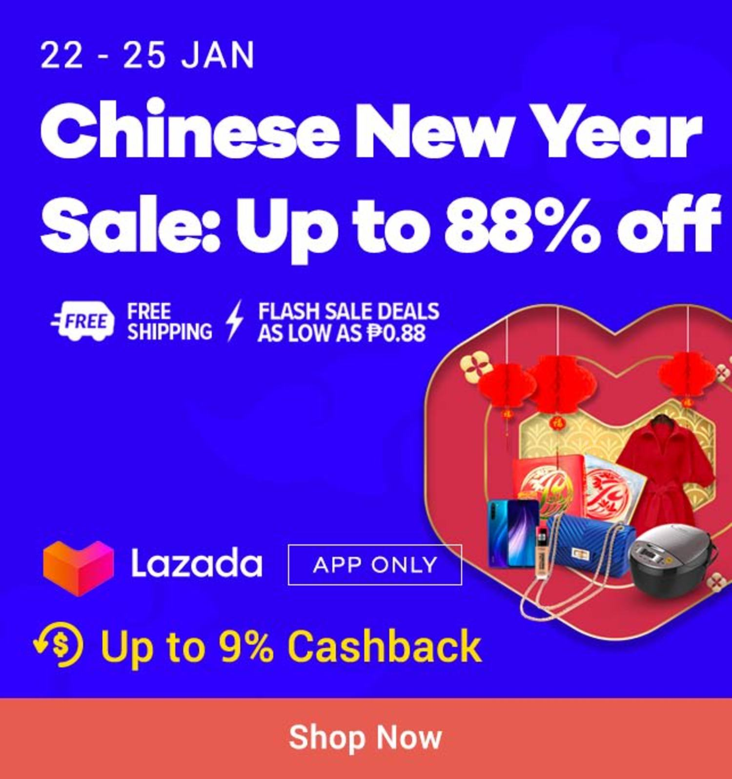 Lazada: Chinese New Year Sale Up to 88% off