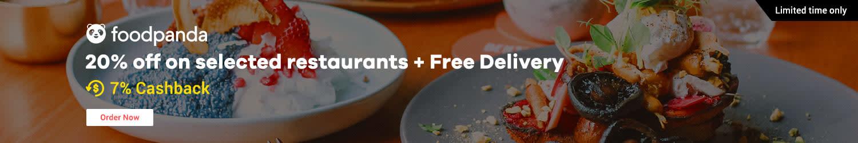 Foodpanda: 20% off on selected restaurants