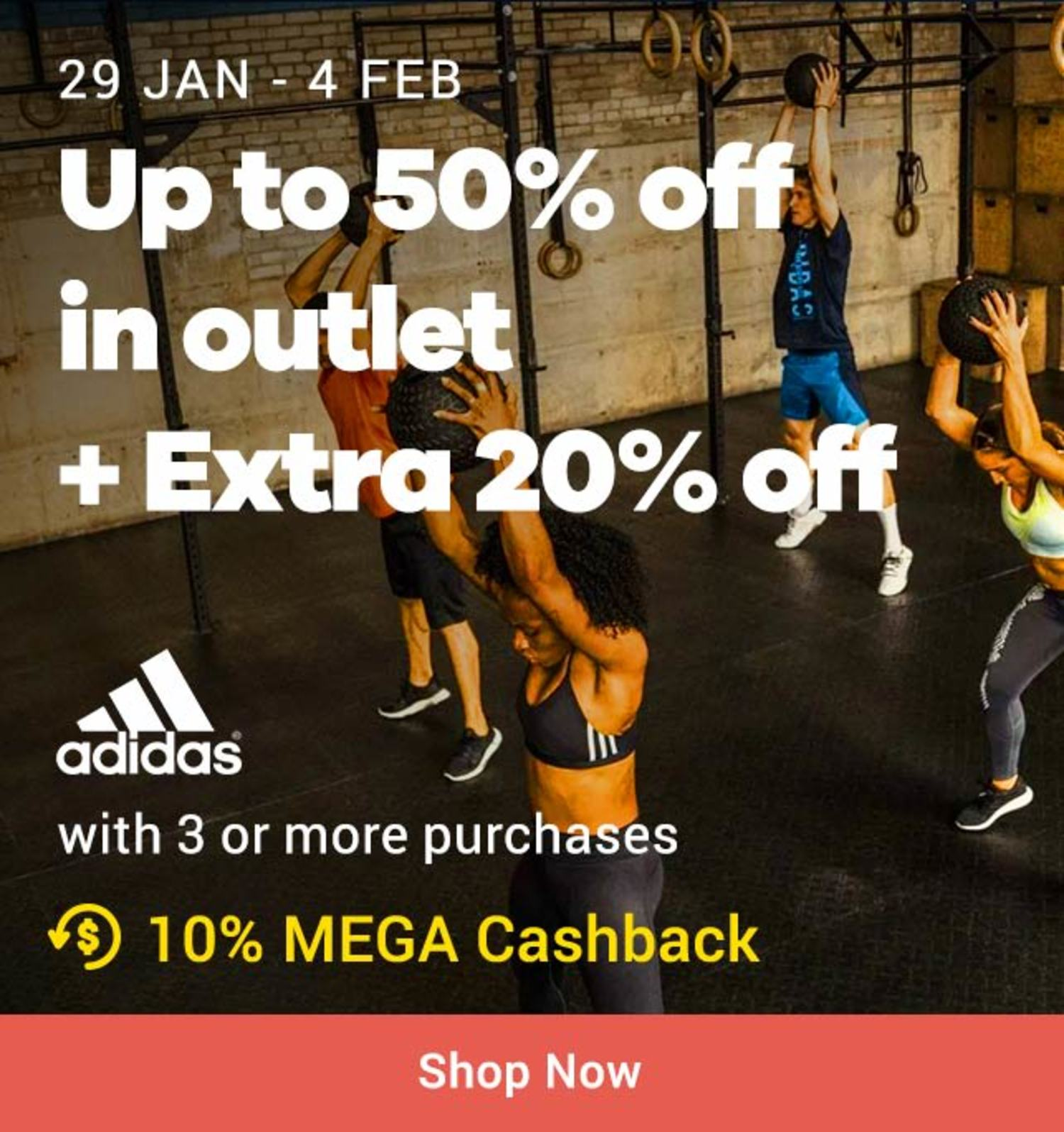 Adidas: Up to 50% in outlet + Extra 20% off
