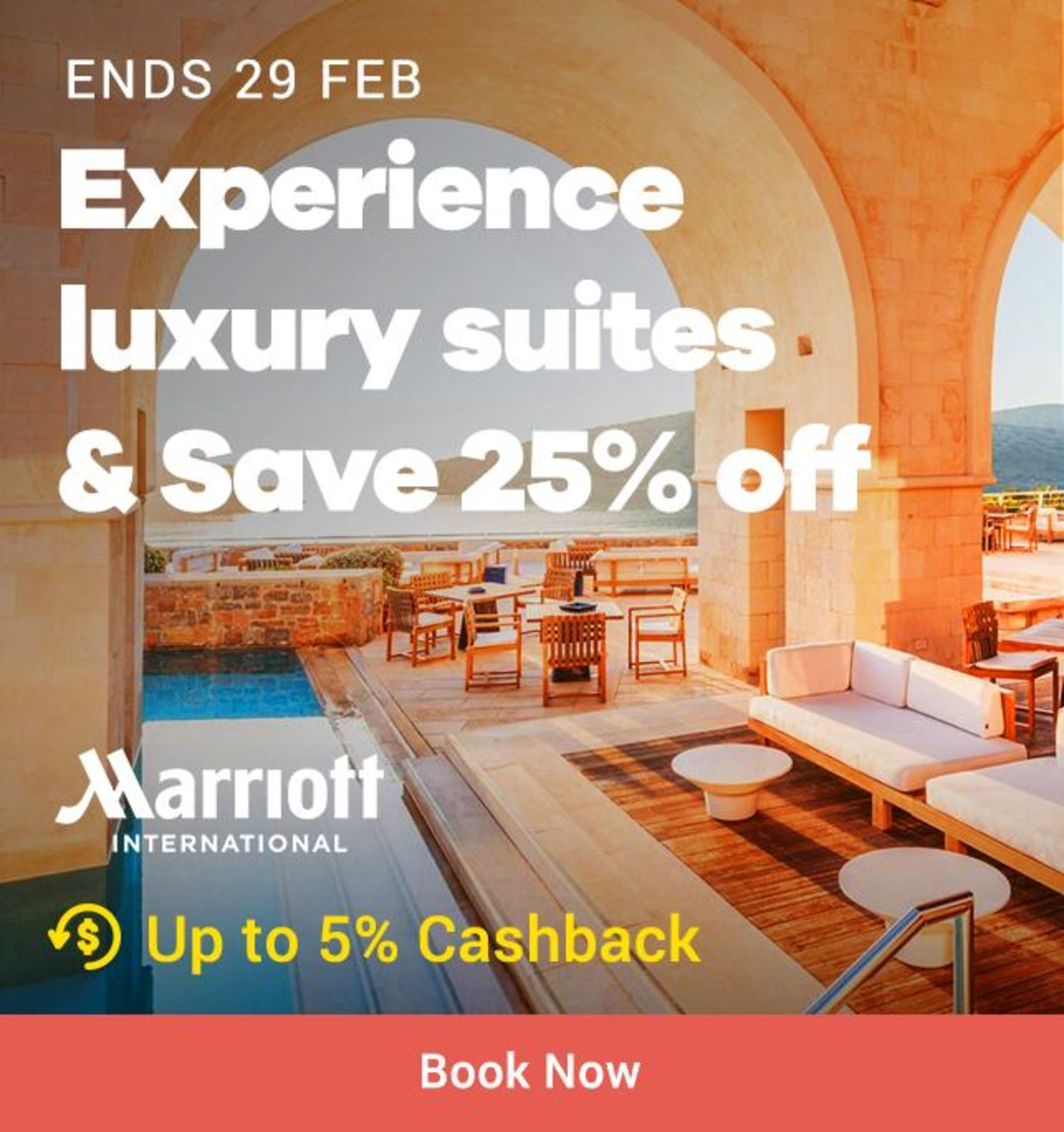 Marriot International: Experience luxury suits & Save 25% off